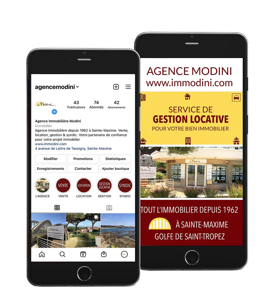 digykan communication digitale instagram Agence Immobilière Modini visuel