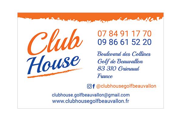 digykan - identité visuelle - Club House Restaurant - logo & carte de visite visuel