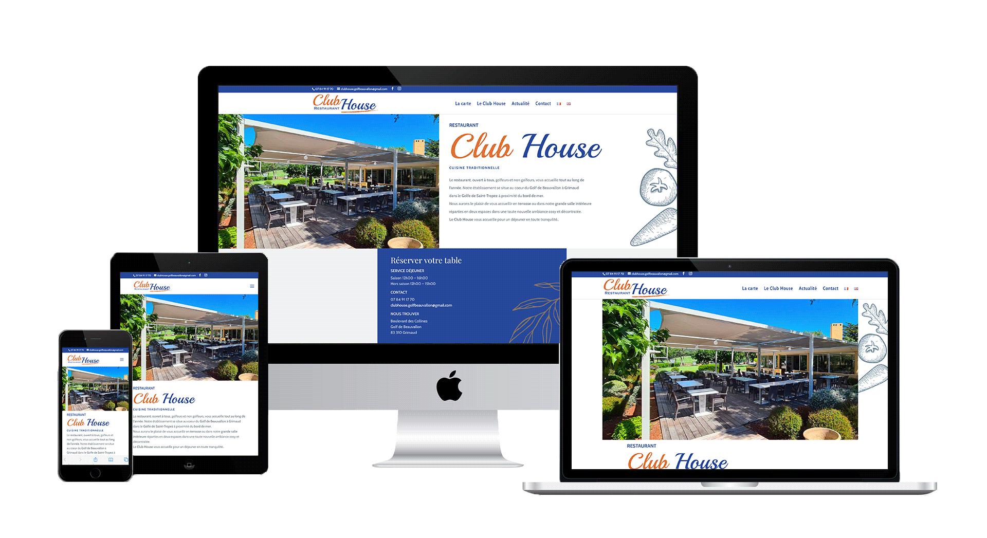 digykan - webdesign -création site web - Club House restaurant visuel écrans